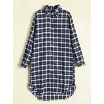Plus Size Button Up Tartan Shirt Dress