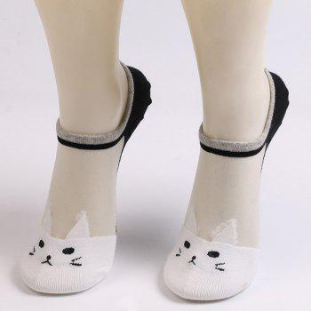 Sheer Mesh Insert Knitted Cat Socks
