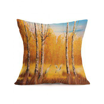Autumn Landscape Painting Square Cotton Cloth Pillow Case