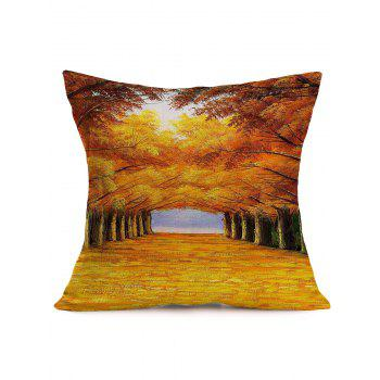 Autumn Trees Road Cotton Cloth Square Pillowcase