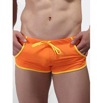 Drawstring Waist Trimmed Swimming Trunks