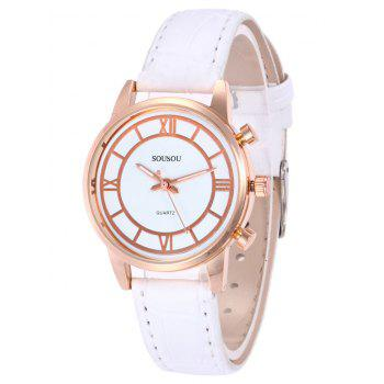 SOUSOU Faux Leather Couple Watches -  WHITE