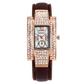 SOUSOU Rhinestone Rectangle Analog Watch