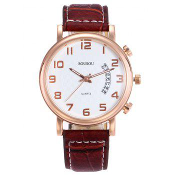 SOUSOU Number Analog Date Watch