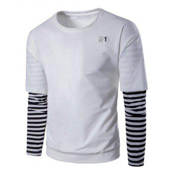 Stripe Trim Patched Sweatshirt