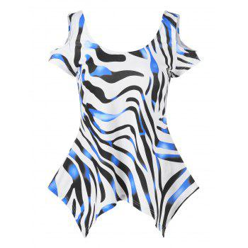 Cold Shoulder Zebra Stripe Tee