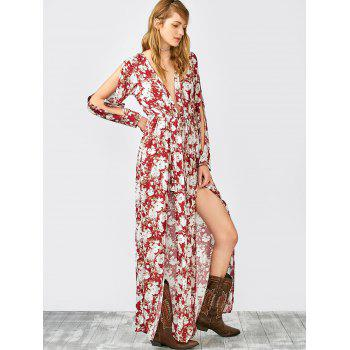 Plunging Neck Split Sleeve Maxi Overlay Romper
