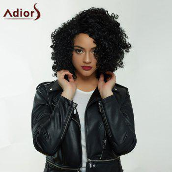 Adiors Medium Side Parting Afro Curly Capless Synthetic Wig - BLACK