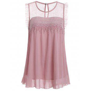 Lace Trim Pleated Sleeveless Top