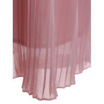 Lace Trim Pleated Sleeveless Top - PINK L