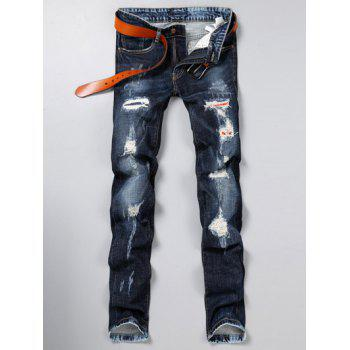 Zipper Fly Jeans With Rips