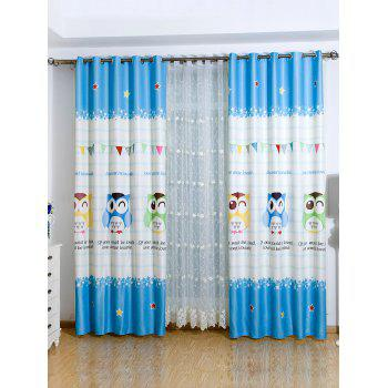 Cartoon Owl Shading Blackout Window Curtain