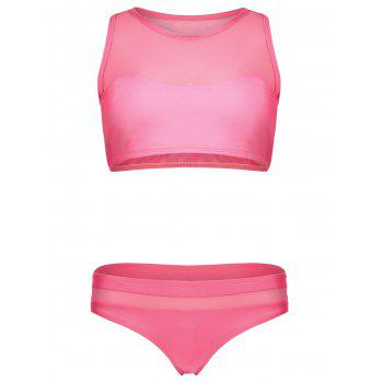 Mesh Panel Racerback Padded Crop Top Bikini Swimsuit