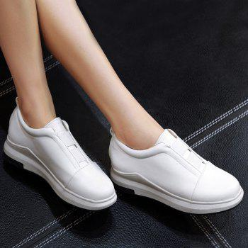 Faux Leather Elastic Platform Shoes - WHITE WHITE