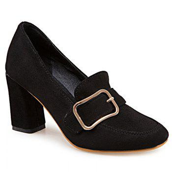 Buckle Strap Block Heel Pumps