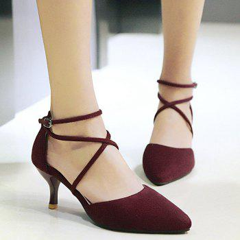 Pointed Toe Cross Straps Pumps
