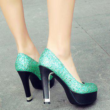 Chunky Heel Glitter Pumps - GREEN 38