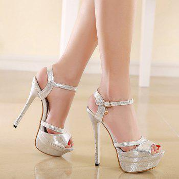 Metallic Color Rhinestones Sandals