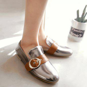 Belt Buckle Faux Leather Flat Shoes