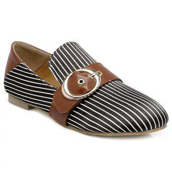 Buckle Strap Striped Flat Shoes