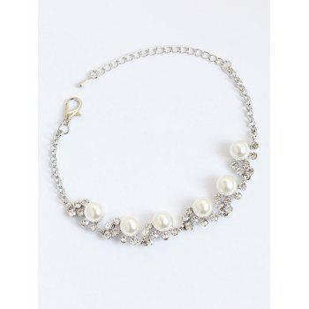 Artificial Pearls Rhinestone Chain Bracelet