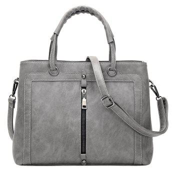 Faux Leather Zipper Detail Handbag