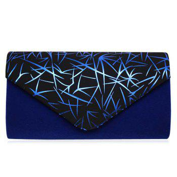 Printed Faux Suede Evening Clutch Bag