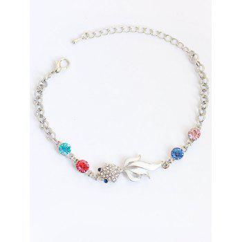 Rhinestone Fake Gem Goldfish Chain Bracelet