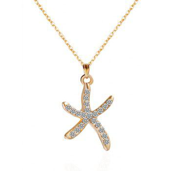 Starfish Rhinestone Embellished Pendant Necklace