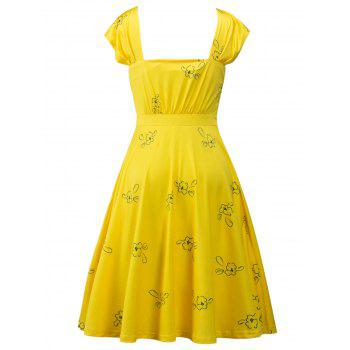 Square Neck Printed High Waist Dress - YELLOW S