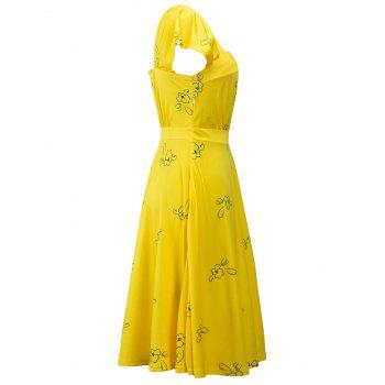 Square Neck Printed High Waist Dress - YELLOW M