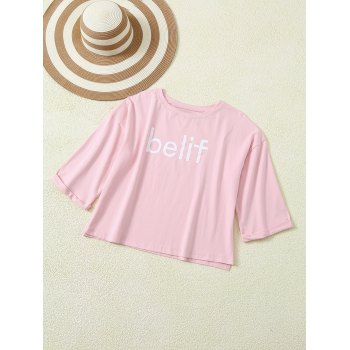Letter Print Side Split Cuffed T-Shirt