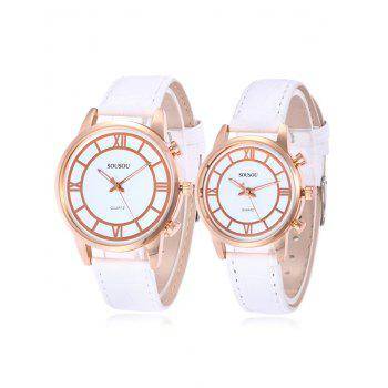 SOUSOU Faux Leather Couple Watches - WHITE WHITE