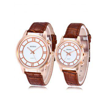 SOUSOU Faux Leather Couple Watches - BROWN BROWN