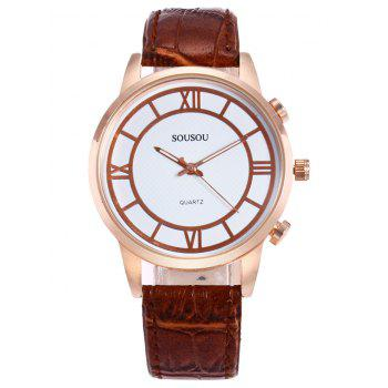 SOUSOU Faux Leather Couple Watches -  BROWN