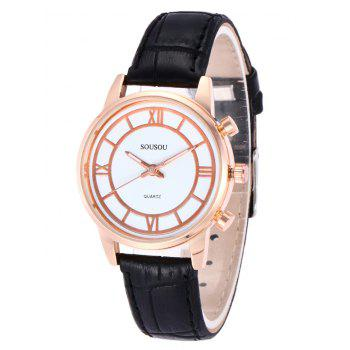 SOUSOU Faux Leather Couple Watches -  WHITE/BLACK
