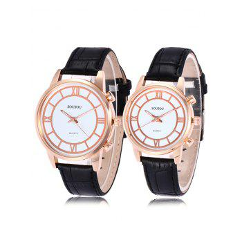 SOUSOU Faux Leather Couple Watches - WHITE AND BLACK WHITE/BLACK
