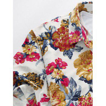 Colorful Flowers Short Sleeve Shirt - GREEN M