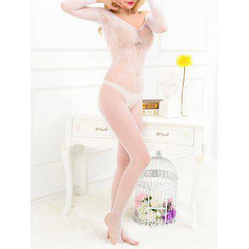 See-Through Openwork Off The Shoulder Teddy - WHITE WHITE