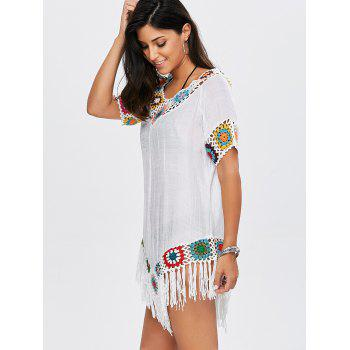 Flower Crochet Tassel Flowy Tunic Cover-Up - WHITE ONE SIZE