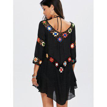 Floral Crochet Flounce Beach Tunic Cover-Up - BLACK ONE SIZE