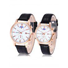 SOUSOU Faux Leather Date Couple Watches
