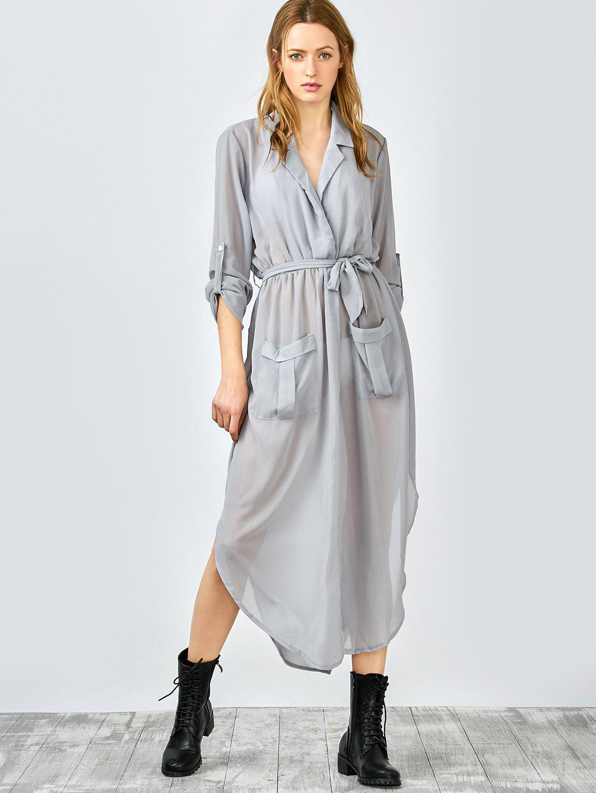 Pockets Tie Belt Crossover Maxi Dress - GRAY M