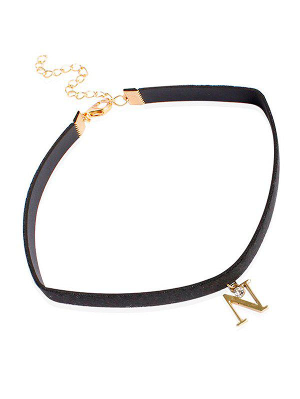 Collier Choker Lettre strass Faux cuir - Or
