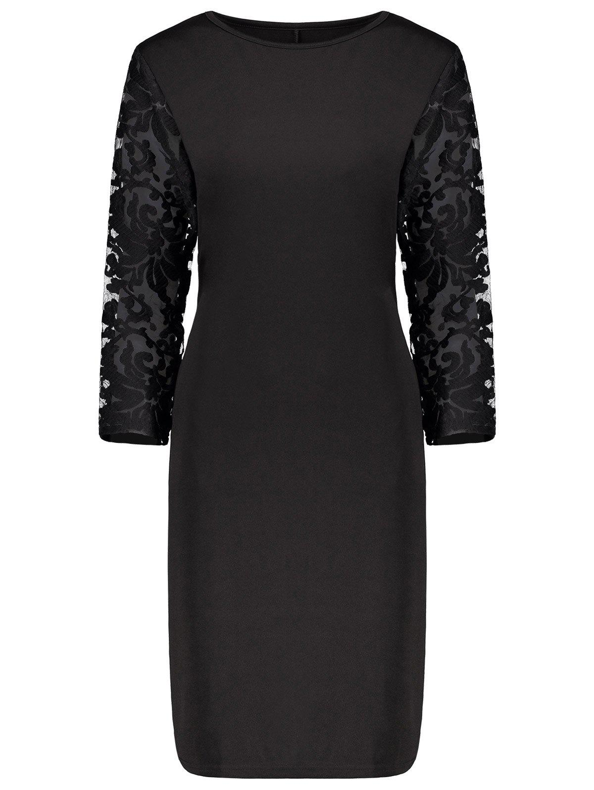 Plus Size Lace Insert Bodycon Sheath Dress sitemap 64 xml