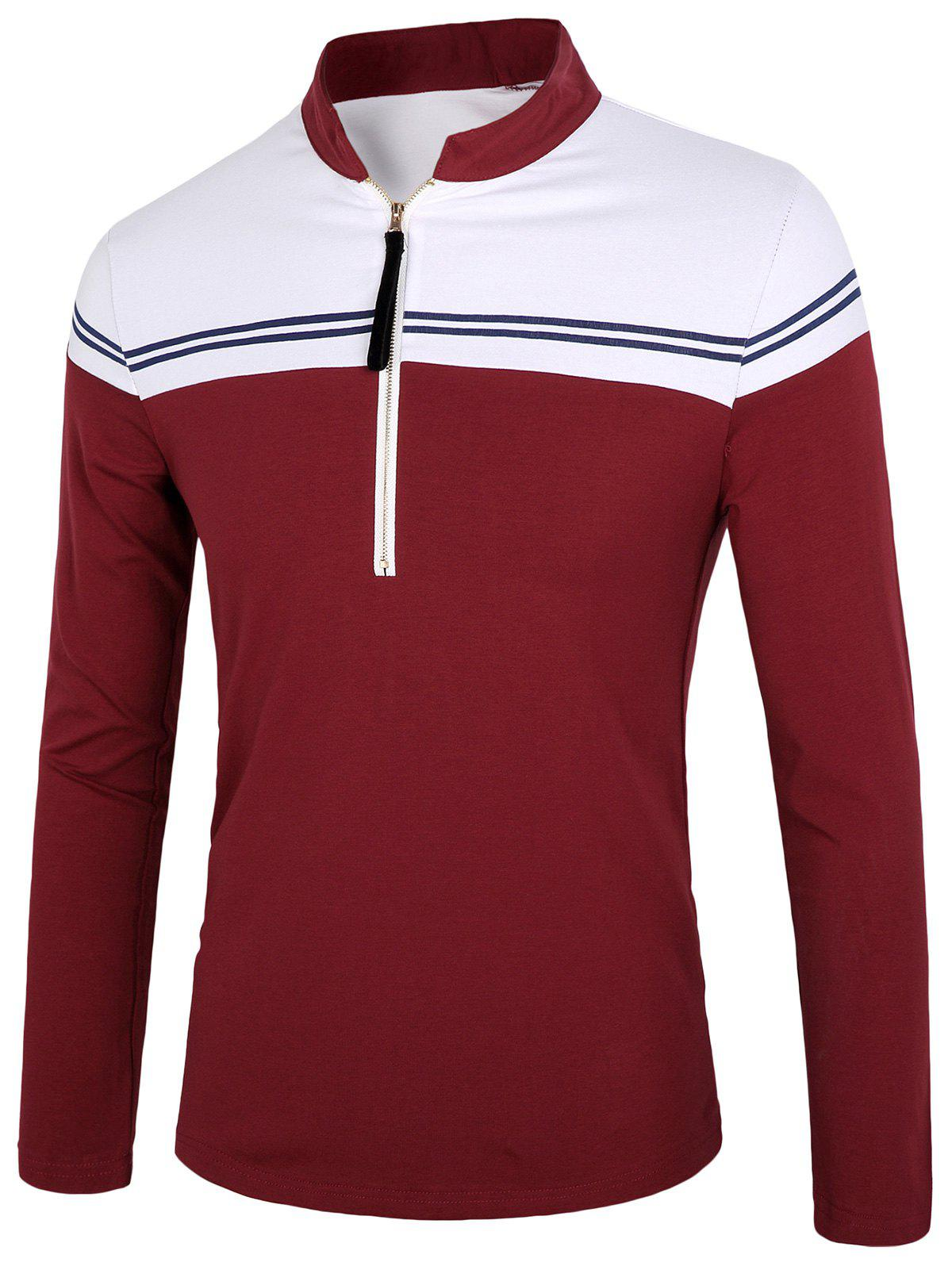 Two Tone Half Zip Polo Shirt - WINE RED 2XL