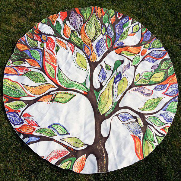 Colorful Life Tree Print Round Beach Throw - COLORFUL ONE SIZE