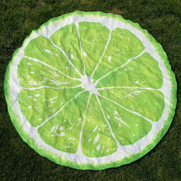 Round Lemon Slice Forme Plage Throw - Citron Vert ONE SIZE