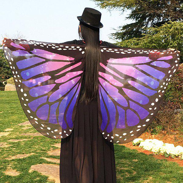Butterfly Wing Cape Chiffon Scarf with Straps - AMETHYST