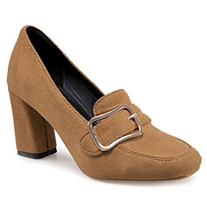 Buckle Strap Block Heel Pumps - BROWN 39